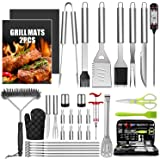 Taimasi 34Pcs BBQ Grill Accessories Tools Set, 16 Inches Stainless Steel Grilling Tools with Carry Bag, Thermometer, Grill Ma