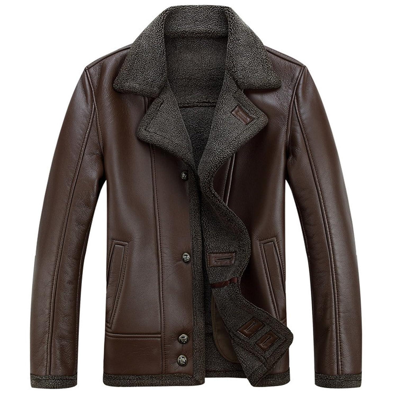 SZYYSD Mens Winter Warm Sheep Skin Leather Coat Jacket Lamb Wool Lined