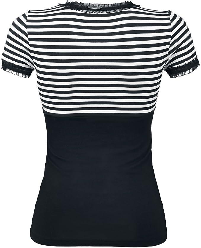 Pussy Deluxe Stripey Camiseta Mujer negro-blanco jTjKChw
