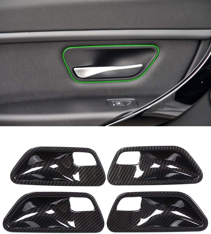 YIWANG - Juego de 4 tapacubos de fibra de carbono estilo ABS para manijas de puerta de interior de 3 series F30 F32 F35 316i 318i 320li 2013-2019