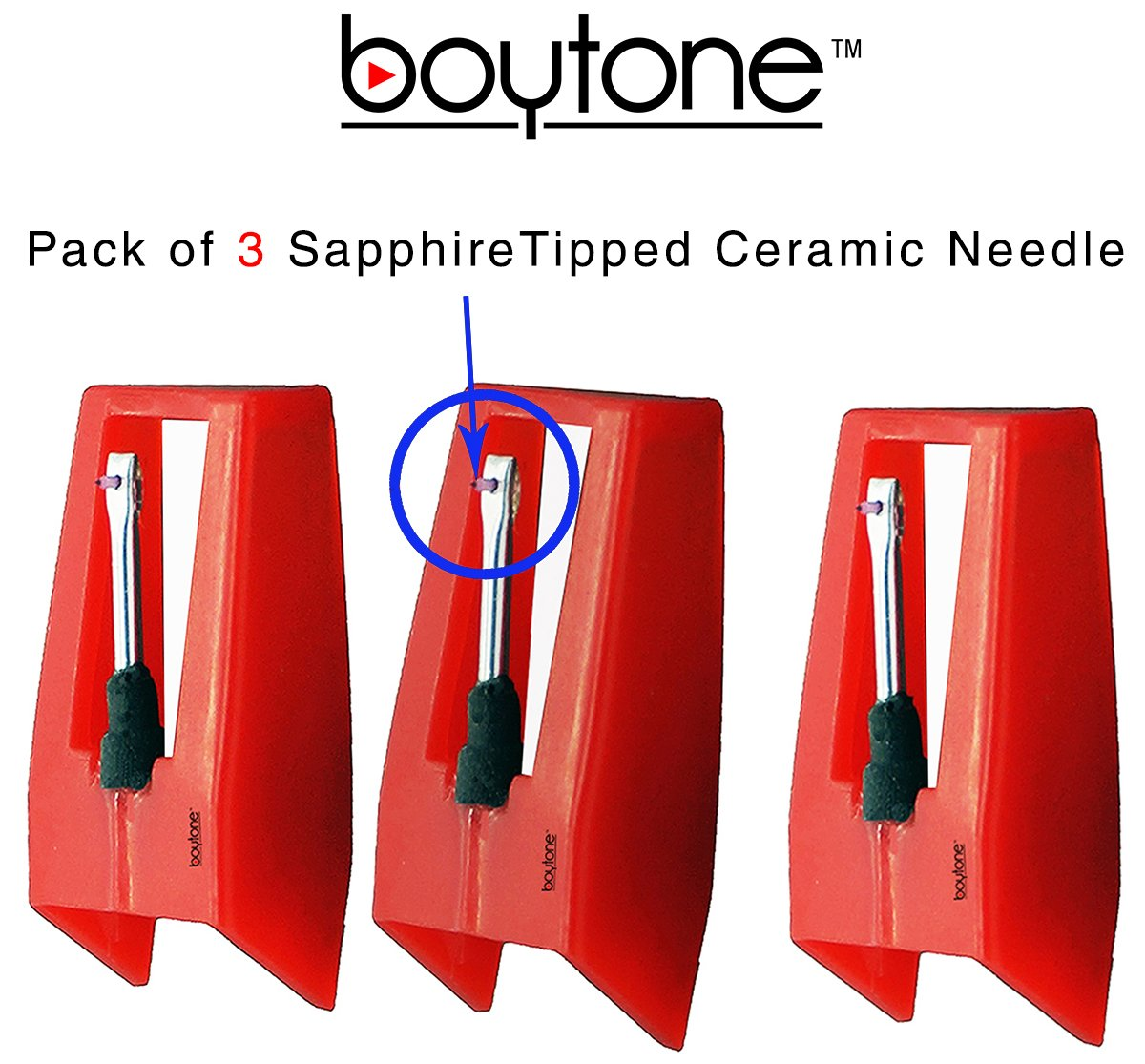 Boytone Pack of 3, Sapphire Tipped Ceramic Replacement Needle for Turntables boytone turntable needles