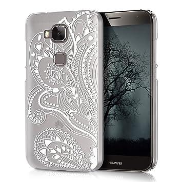 kwmobile Funda para Huawei G8 / GX8 - Carcasa de [plástico] para móvil - Protector [Trasero] en [Blanco/Transparente]
