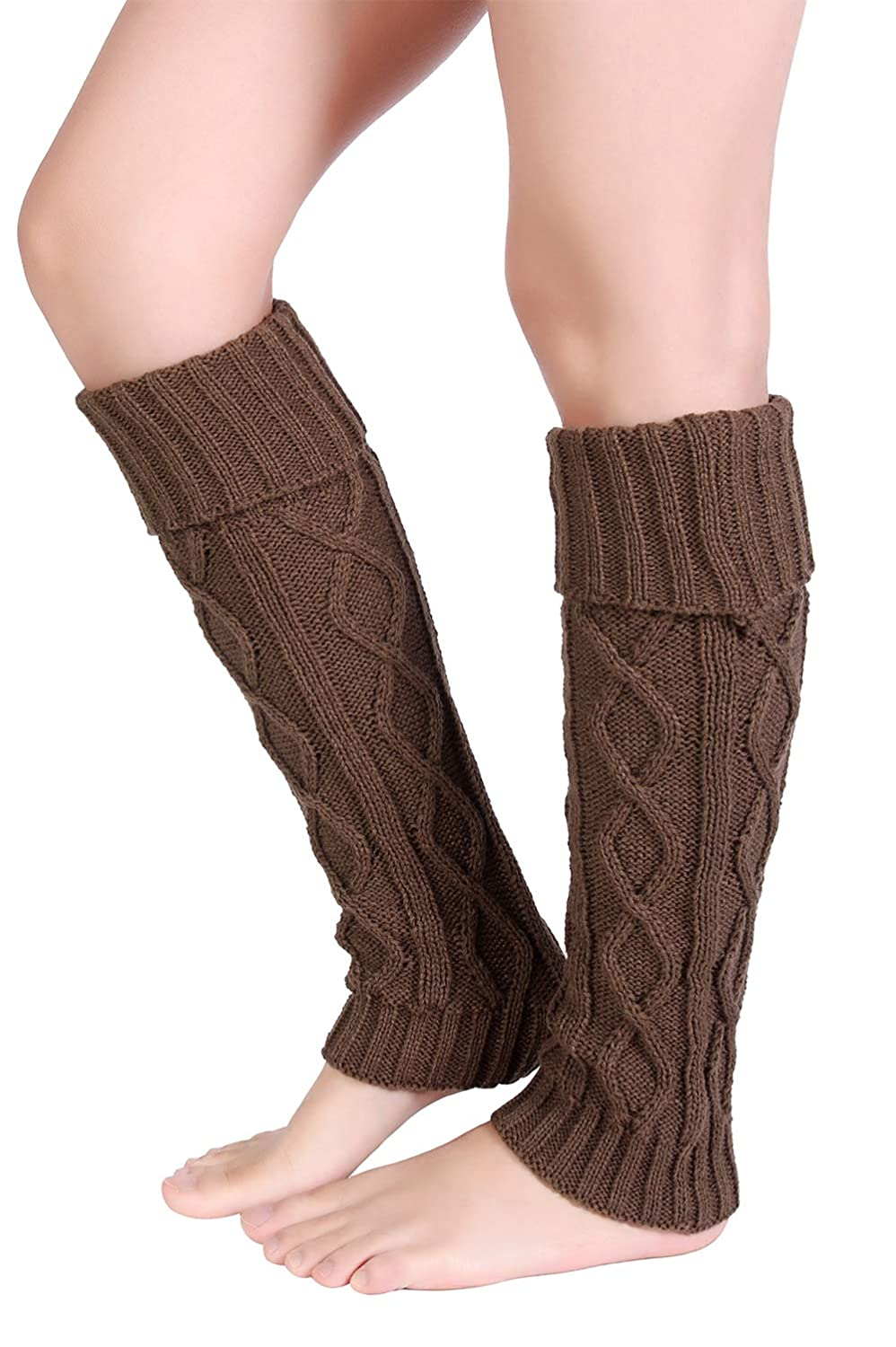 6c8a00aced65e Amazon.com: Eleray Women's Winter Soft Over Knee High Cable Footless Socks  Knit Leg Warmers (Black): Clothing