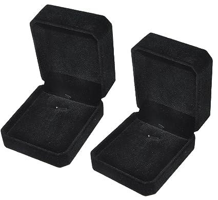 Isuperb 2 Velvet Necklace Pendant Box Jewelry Box Classic Black Gift Boxes 3 1x1 6x2 8inch