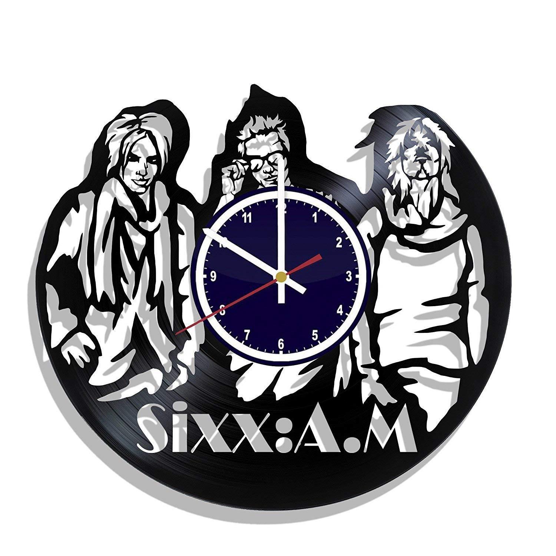 AlvaroDream Sixx A.M. vinyl record wall clock, Sixx AM kitchen decor