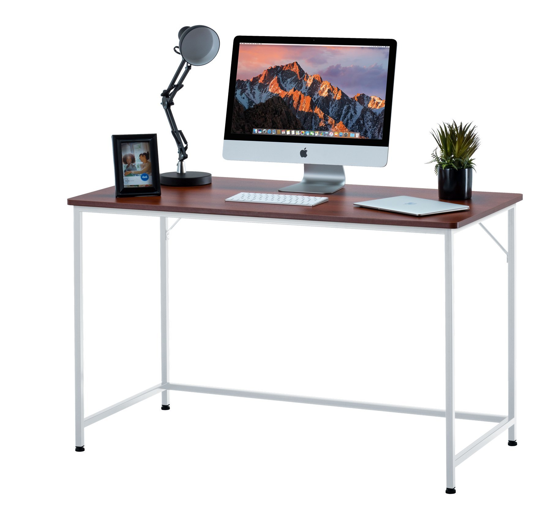 Fineboard FB-D12-RW Home Office Computer Desk Writing Table, 47'' L, Teak/White