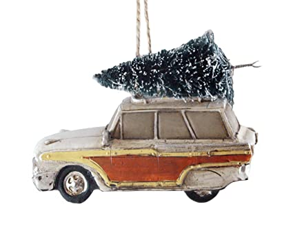 woodie wagon car with christmas tree hanging ornament - Woodies Christmas Decorations
