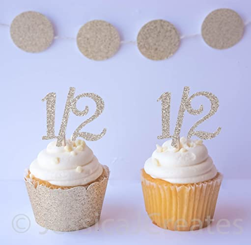 Amazon Half Birthday Cupcake Toppers