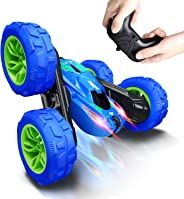 RC Stunt Car for Kids, SHARKOOL 360°Flips Double Sided Rotating 4WD 2.4Ghz Remote Control Car with Sharp Dual-Color Headligh