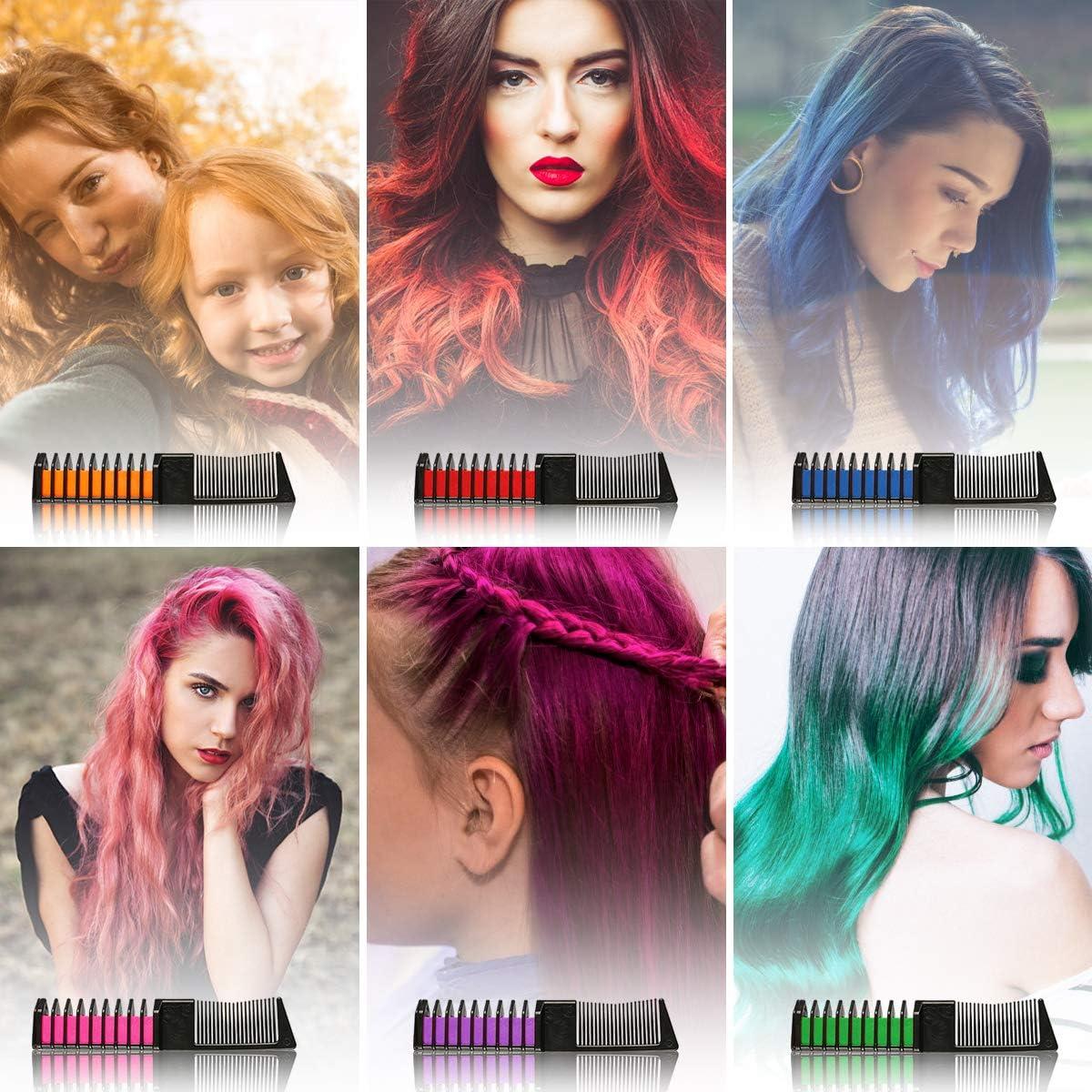Tiza de Pelo, 6 Colores Temporal Peine Tiza de Pelo, Colores Brillantes & Fácil de Limpiar, Colores Hair Chalk para Niños Regalos Fiestas Cosplay DIY