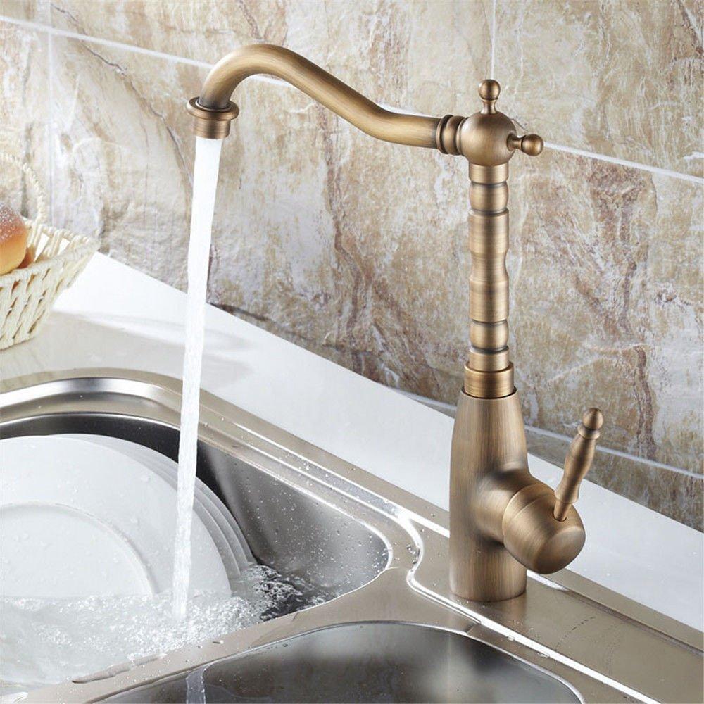 ANNTYE Waschtischarmatur Bad Mischbatterie Badarmatur Waschbecken Antike Warmes und kaltes Wasser Ventil Messing Schwenkbare Einhebelbedienung Badezimmer Waschtischmischer