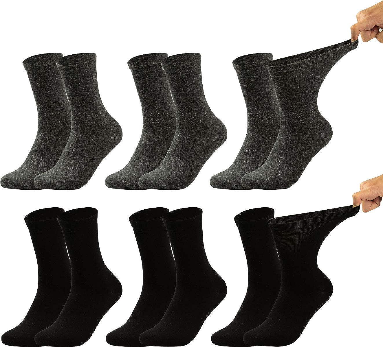 calzini sanitari sensibili completamente privi di gomma e di cuciture pacco da 6 o da 8 Vitasox calzini da uomo extra larghi in cotone