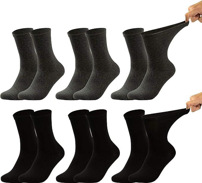 Vitasox Calcetines de caballero extraanchos de algodón, calcetines sanitarios sensibles sin elástico, sin costura, lote de 6 u 8 unidades: Amazon.es: Ropa y accesorios