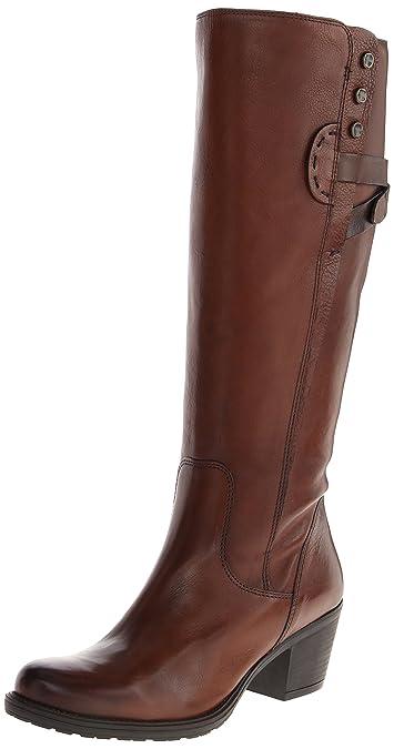 CLARKS Women's Maymie Stellar Riding Boot,Cognac Leather,6 ...