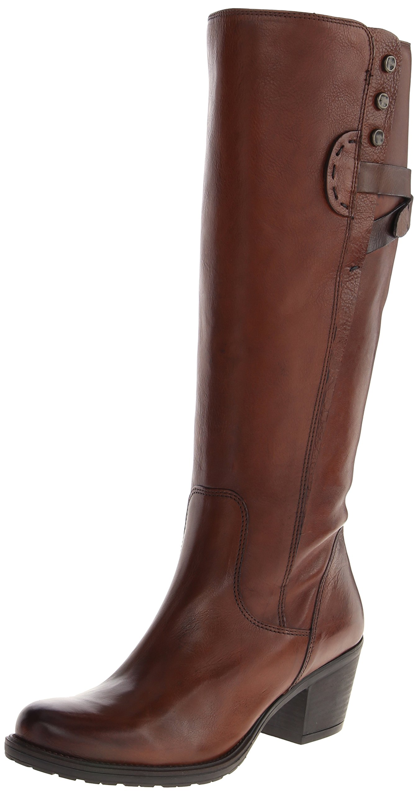 Clarks Women's Maymie Stellar Riding Boot,Cognac Leather,7.5 M US