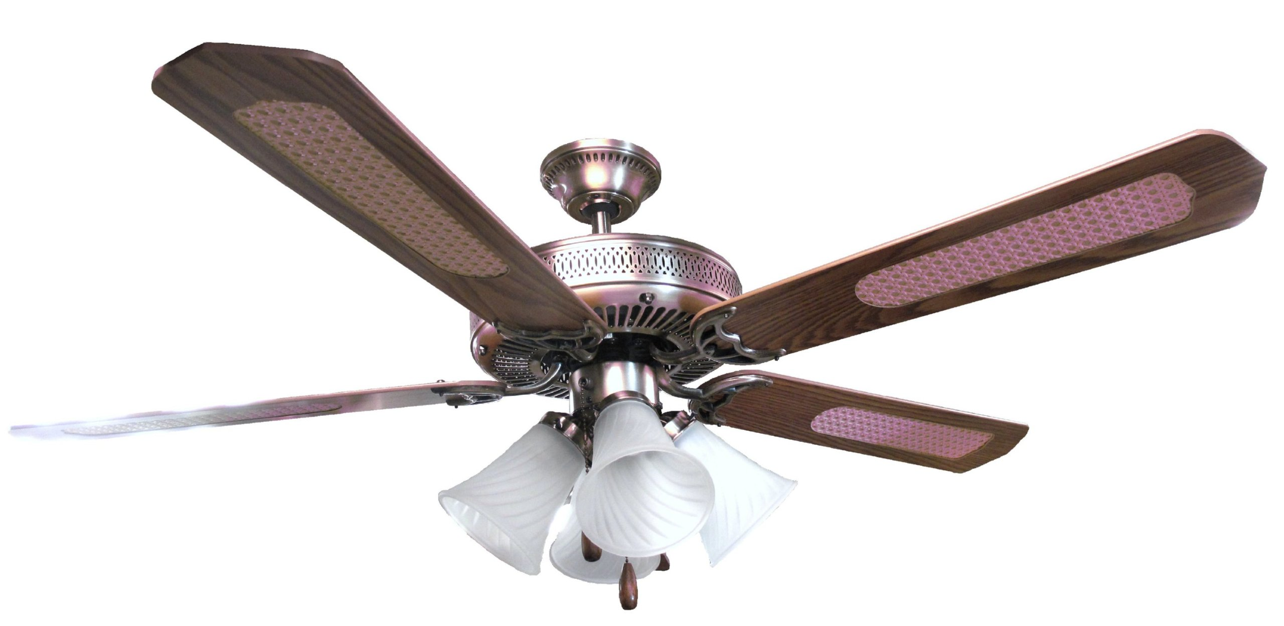 OVERSEAS USE ONLY Sakura SA5203AB 52'' Five Blade 220 Volt Ceiling Fan with Four Lights - Antique Brass Style (220V will not work in USA)