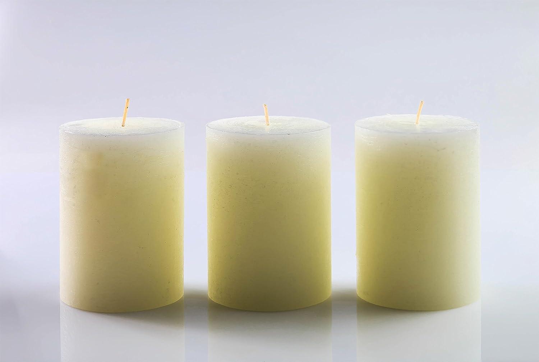 de 7,5 x 10 cm ideal para bodas con mecha de algod/ón sin humo por Melt Candle Company iglesias Juego de 3 velas pilar en blanco sin fragancia decoraci/ón del hogar restaurantes balnearios