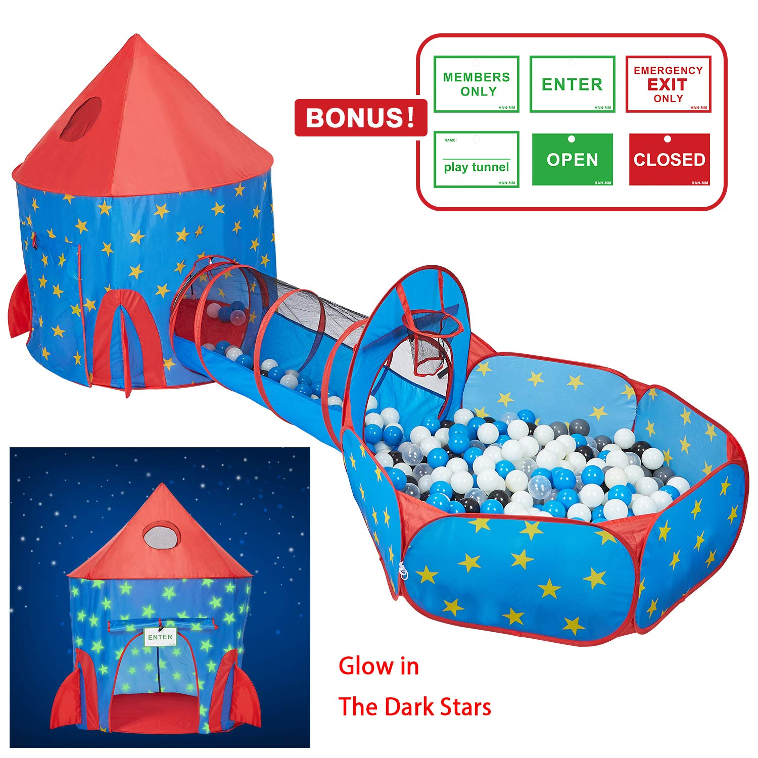HAN-MM 3pc Kids Play Tent with Tunnel Glow in The Dark Stars, Tunnel & Ball Pit Basketball Rocket Ship Astronaut Hoop Toys with Bonus Message Signs for Indoor Outdoor Camping Children Activity Center