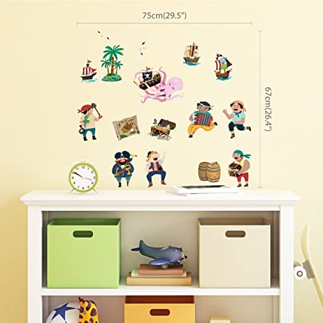 dimensions 30 Wall stickers child young pirate ref 3580