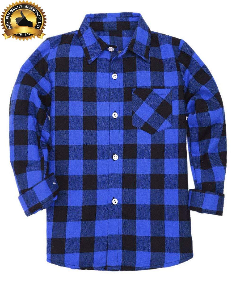 Yinggeli Little Big Boys' Long Sleeve Button Down Plaid Flannel Shirt 2-8 Years(A-E005,7T)