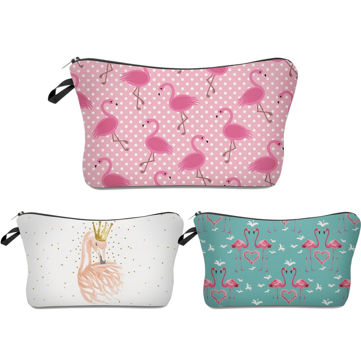 Deanfun 3pcs/set Super Funny 3D Printing women cosmetic bag Multifuncition Pencil Holder (unicorn) (Flamingos) 665107150067