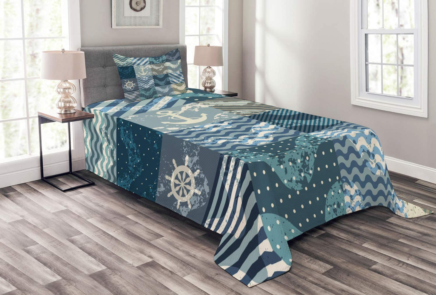 Ambesonne Nautical Bedspread, Marine Theme Wave Patterns in Patchwork Style Boxes Squares Striped Anchor Print, Decorative Quilted 2 Piece Coverlet Set with Pillow Sham, Twin Size, Blue Beige