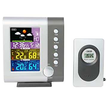 JIMEI Indoor Outdoor Color Weather Station Digital Color Forecast Station with Sensor Home Alarm Clock with