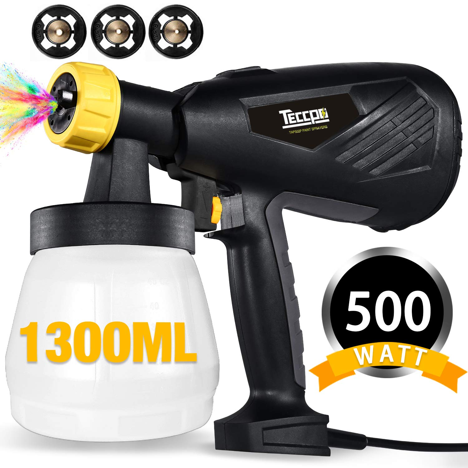 Paint Sprayer, TECCPO 500 Watts 800ml/min HVLP Home Electric Spray Gun with 1300ml Detachable Container, 3 Pcs Copper Nozzles & 3 Spray Patterns, Adjustable Valve Knob for Home Decoration & DIY by TECCPO