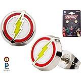 Flash Bolt Logo Stud Earrings DC Comics Enamel Stainless Steel Licensed Studs