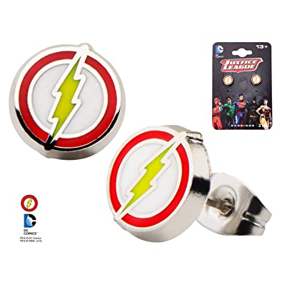 Official Justice League The Flash Logo Stainless Steel Stud Earrings Rm6DcFAi