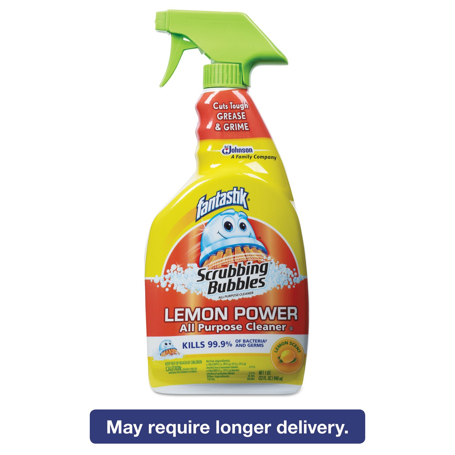 Fantastik 652513 Scrubbing Bubbles Lemon Power Antibacterial Cleaner, 32 oz Spray Bottle (Case of 8)
