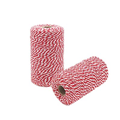 HRX Package Red and White Cotton Twine 656 Feet x 2 Roll, Durable Bakers Twine, Gift Wrapping String for Christmas Presents, Arts Craft : Office Products