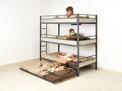 Amazon Com Triple Bunk Bed With Trundle Matresses Not Included