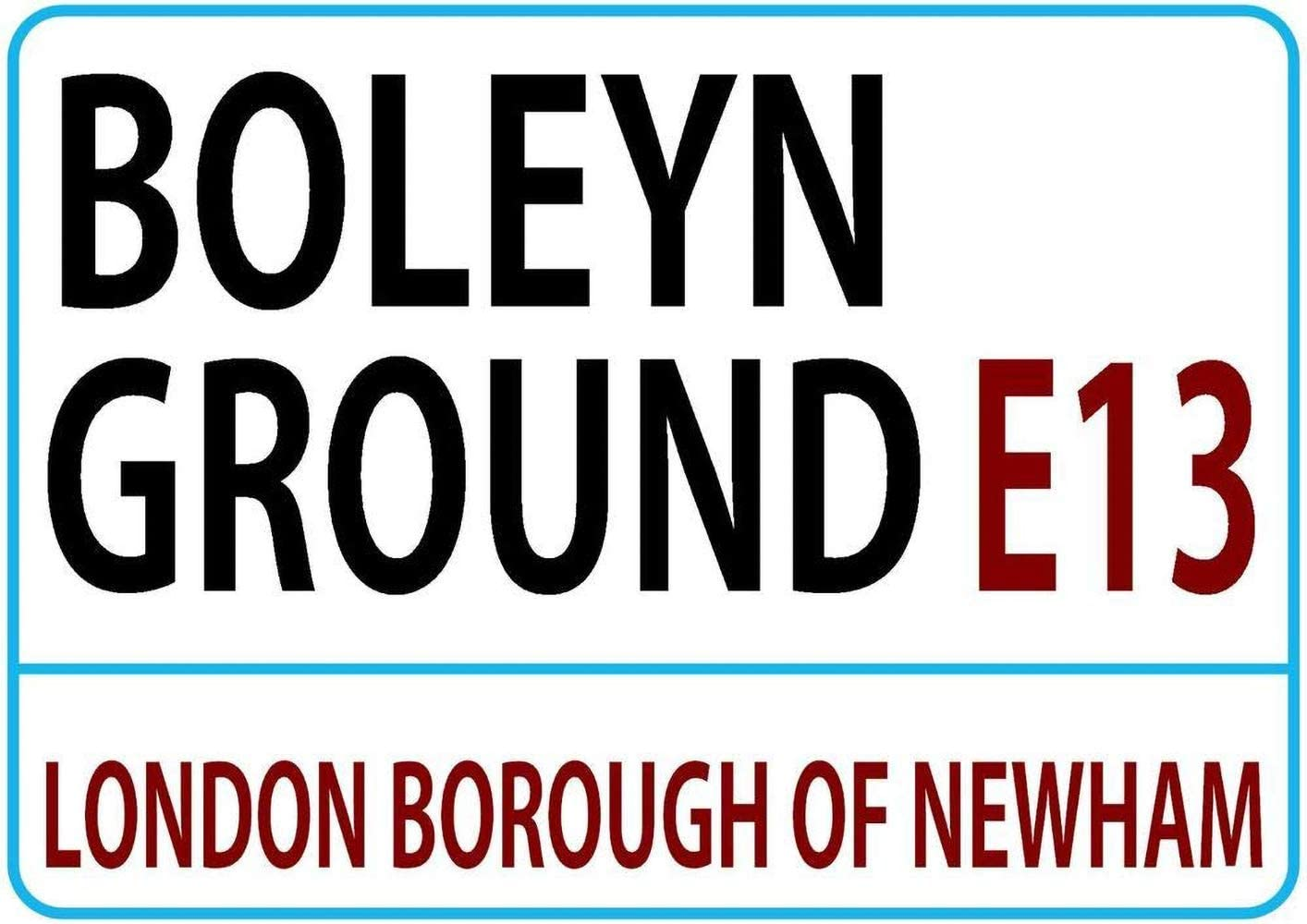 Boleyn Ground London Street West Ham Football Team Tin Wall Sign Metal Plaque Poster Retro Hanging Art Iron Painting Vintage Band Yard Garden Warning Cafe Bar Pub Office Stadium Cinema Toilet Gift