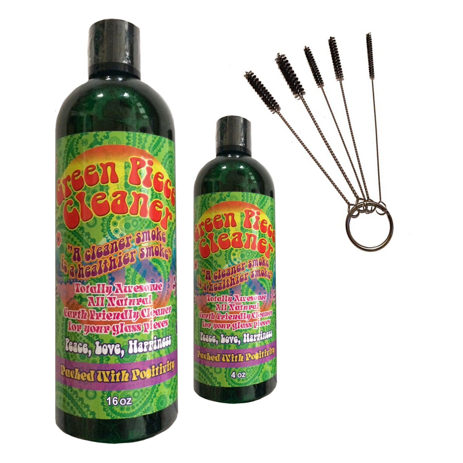 Green Piece Cleaner 16 oz - Free travel size - 4 Oz. and a Free Pipe Cleaner! The All Natural Glass Cleaner, Metal and Ceramic Water Pipe/Bong/Bubbler