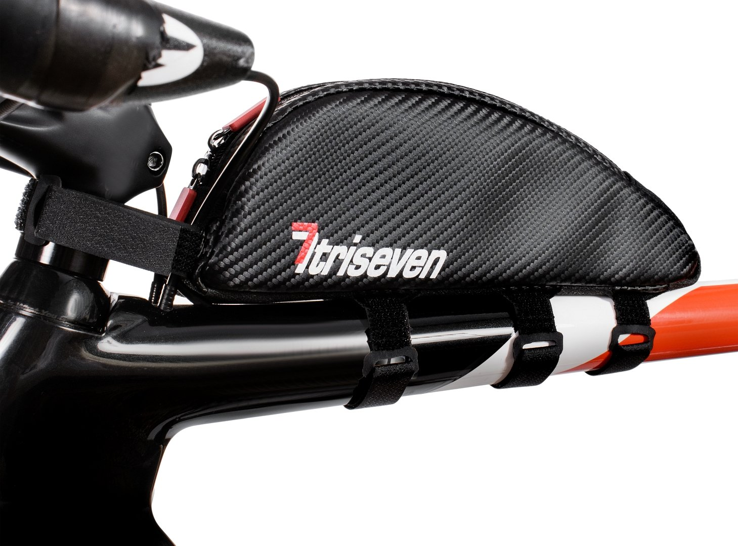 TRISEVEN Carbon Aero Bag 30 * Bolsa de ciclismo Frame * Triatlón Bag * MTB Bag * Capacidad de combustible, iPhone PLUS, herramientas * Bolsa de tubo superior * Accesorios de bicicleta * 10 geles * 4 correas o 2 pernos * Agujero para auriculares * 100% gara