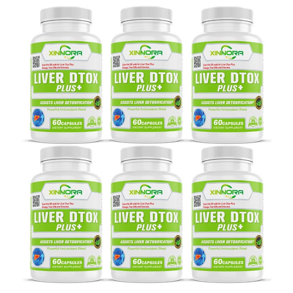 XINNORA Liver Dtox Plus+ - Milk Thistle & Powerful Antioxidant Blend - Natural Supplement for Liver Support, Supports Liver Health, Liver Detoxifier, Great for Liver Cleanse & Detox - 60 Caps x 6 BTLs