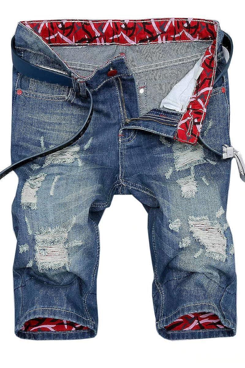 APE TEES Men's Fashion Ripped Short Jeans Slim Fit Denim Short