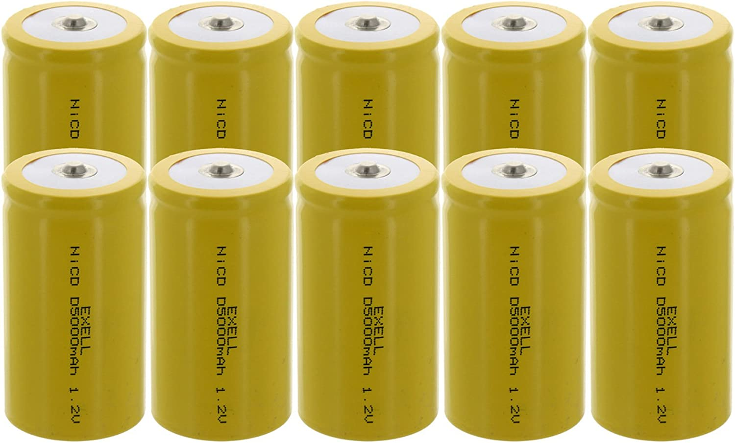 10x D Size 1.2V 5000mAh NiCD Button Top Rechargeable Batteries for electric mopeds, meters, radios