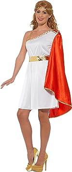 Smiffys Lady Costume Disfraz de señora Romana, Color Blanco y ...