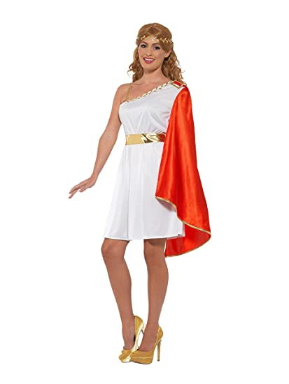 Smiffys 47378L - Disfraz de mujer romana, color blanco y rojo, talla L