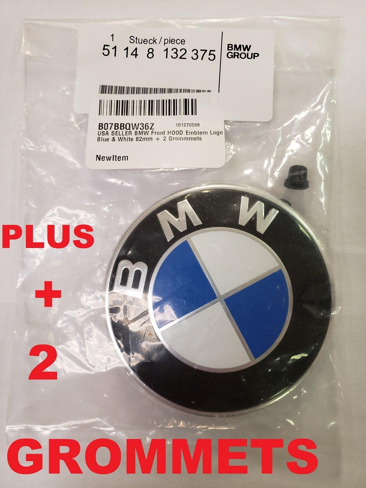 BMW Hood roundel emblem logo replacement hood 82mm + 2 Grommets for ALL Models BMW E30 E36 E46 E34 E39 E60 E65 E38 X3 X5 X6 3 4 5 6 7 8