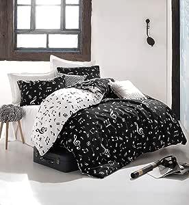 EnLora Double Quilt Cover Set of 4, Black/White, 162ELR1280
