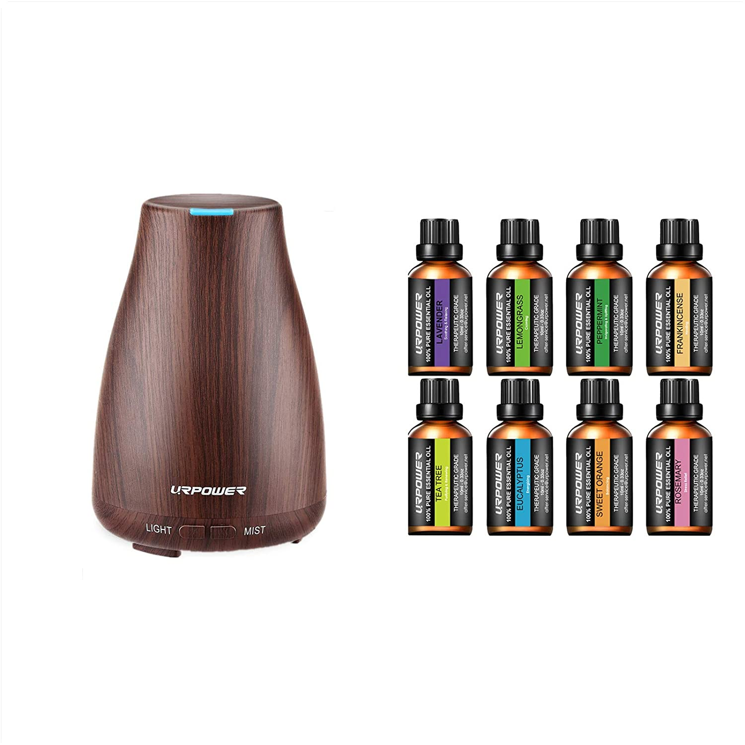 URPOWER 2nd Version Essential Oil Diffuser with 8 Aromatherapy Essential Oils 100% Pure Therapeutic Grade Essential Oils Set Lavender/Peppermint/Tea Tree/Orange/Eucalyptus/Lemongrass/Frankincense/Rose