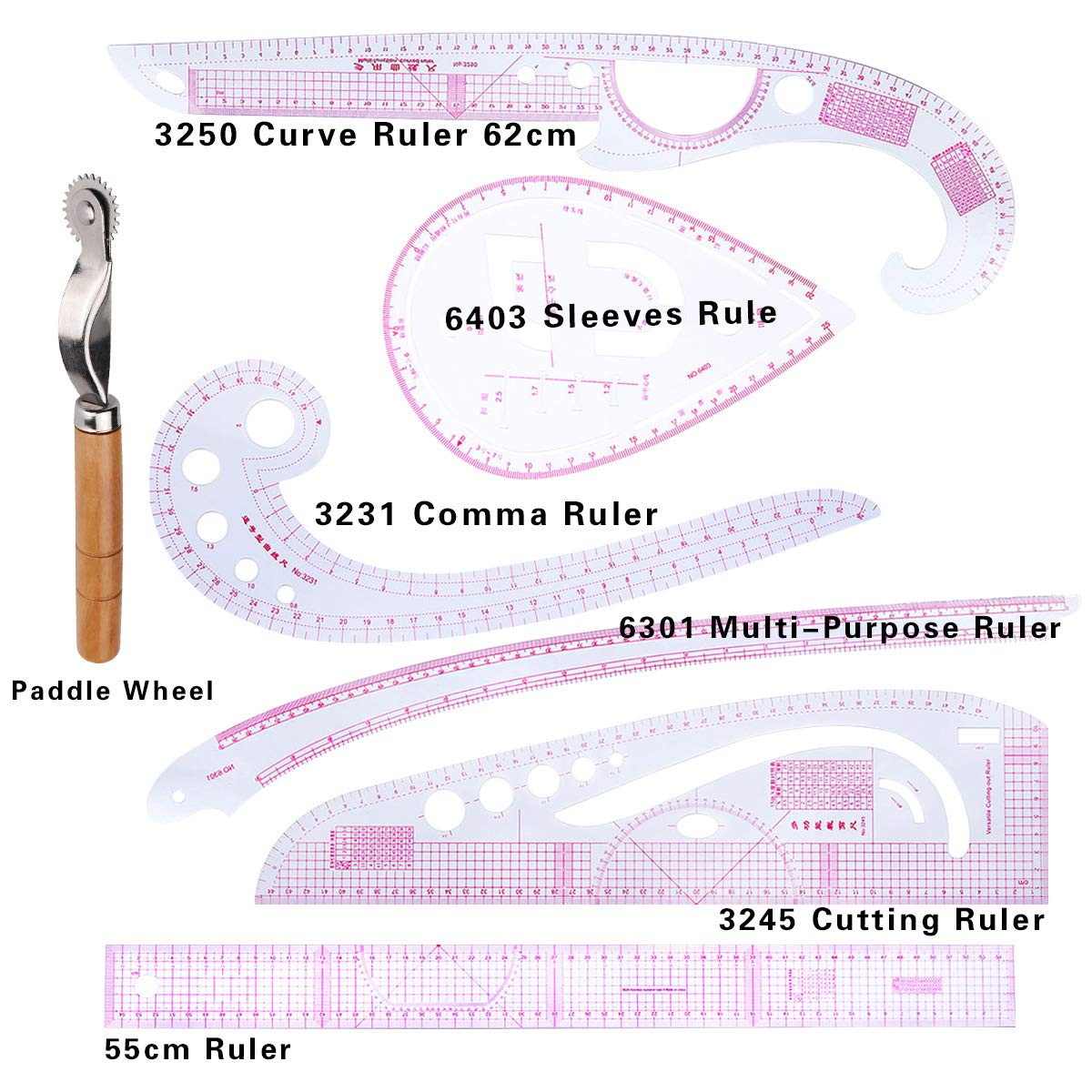 perfektchoice 5Pcs DIY Styling Ruler Sets Plastic Metric Ruler Set French Curve Rulers Cutting Ruler Sew Drawing Template Sewing Tools for Dressmaking Tailoring