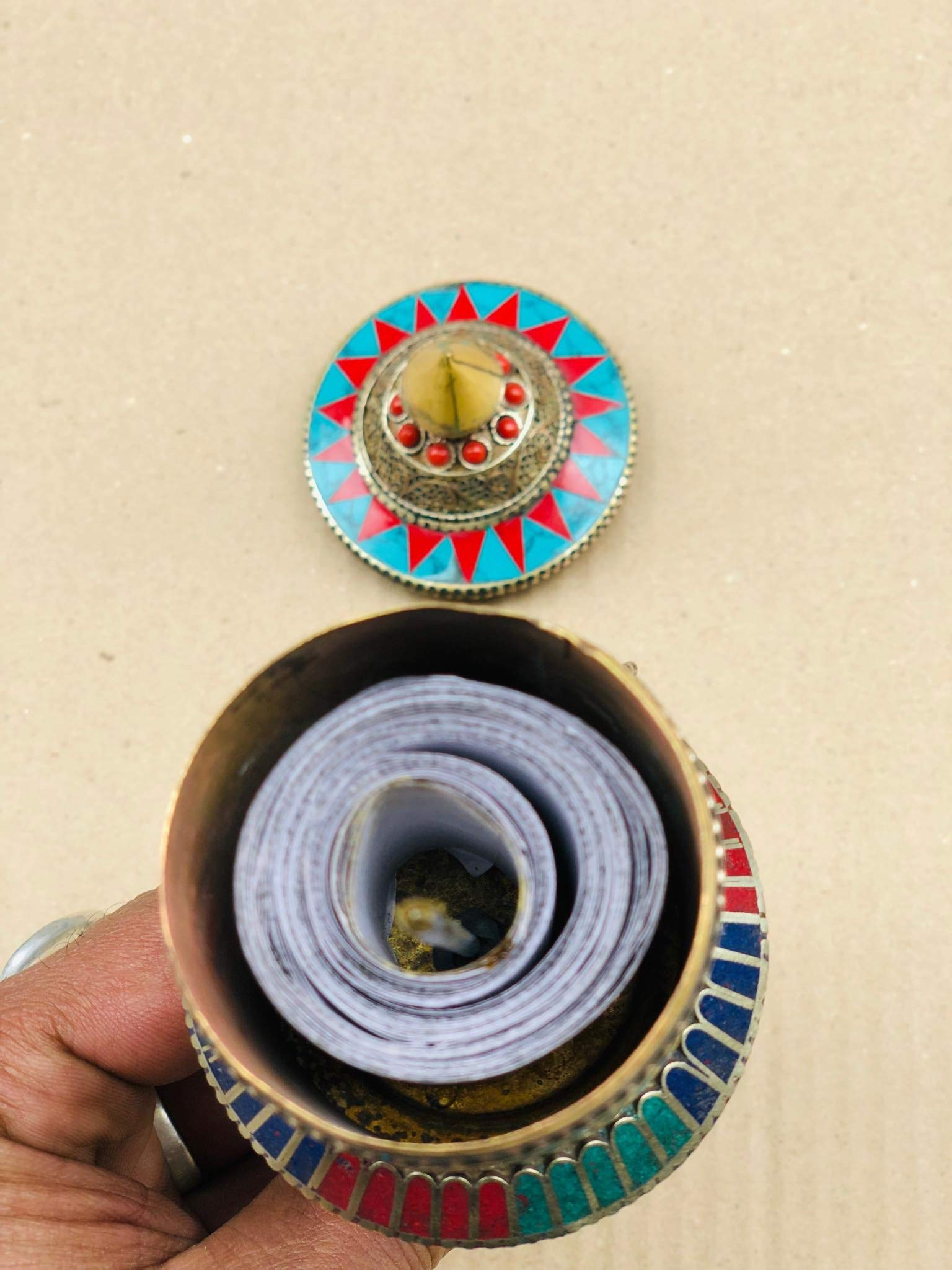 Buddhist Brass & Stone Set Hand-held Prayer Wheel - 9 Inch with Authentic Wooden Handle by Singing Bowl Nepal (Image #4)