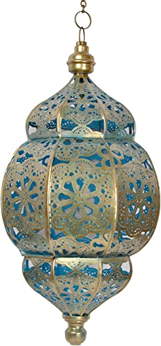 Indian Morrocan Ceiling Pendant Lights Garden, Balcony Patio, Metal Polished Brass Finish