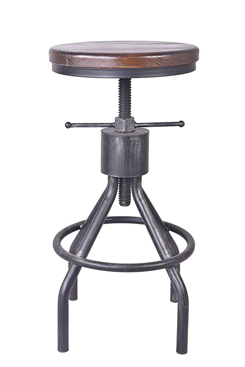 Enjoyable Lokkhan Vintage Industrial Bar Stool Height Adjustable Round Wood And Metal Swivel Bar Stool Cast Iron Pub Height Stool Extra Tall 22 34 Inch Onthecornerstone Fun Painted Chair Ideas Images Onthecornerstoneorg