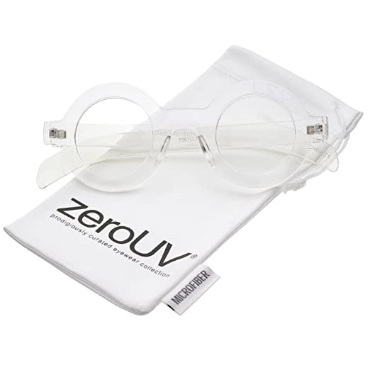 4e0f1cf459ea Amazon.com  zeroUV - Bold Thick Frame Flat Clear Lens Round Eyeglasses 39mm  (Clear Clear)  Clothing