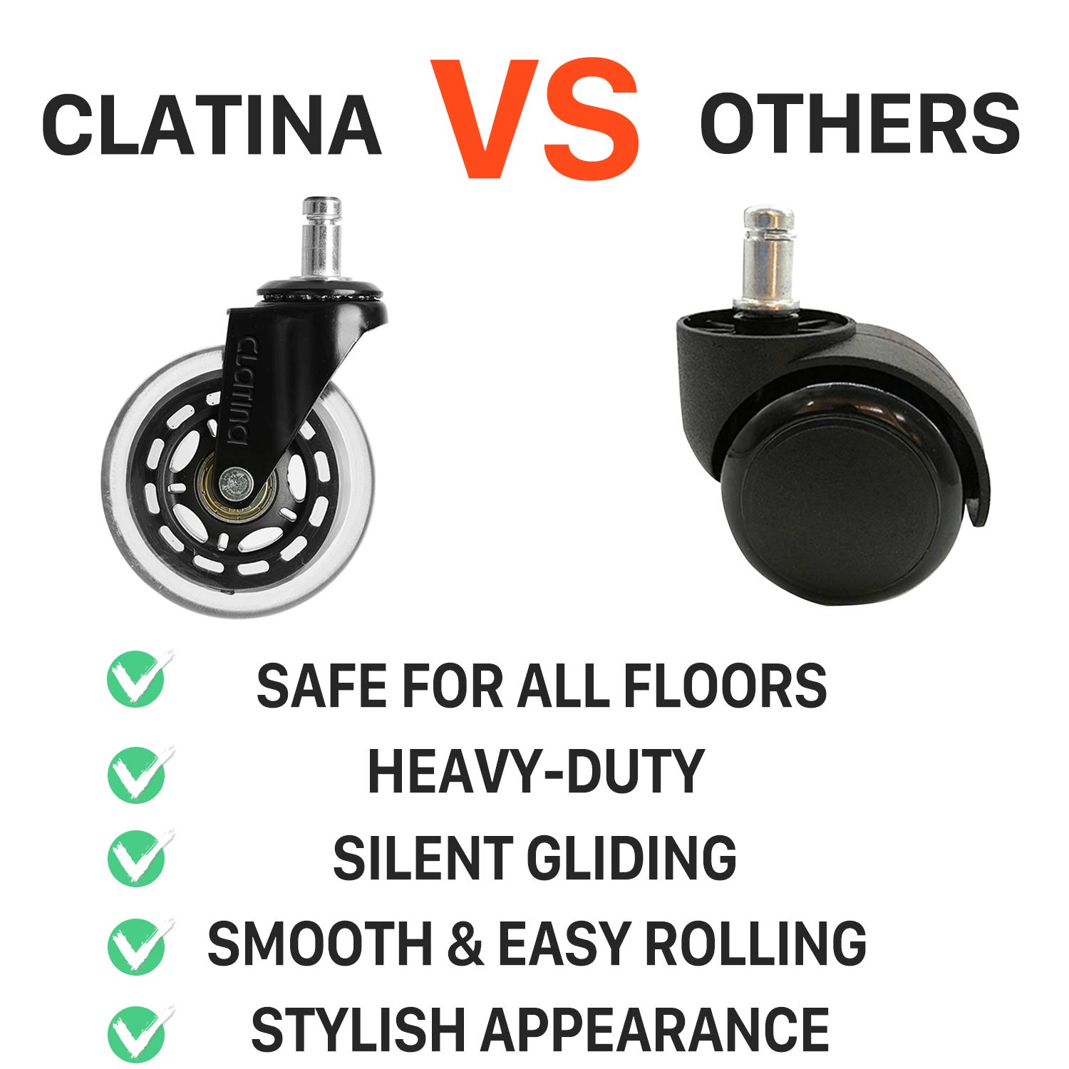Heavy Duty Office Chairs Wheels Replacement for Hardwood Floors and Carpet Rolling Casters Safe Soft Smooth Silent Desk Gamer Computer, 1 Pack by CLATINA (Image #4)